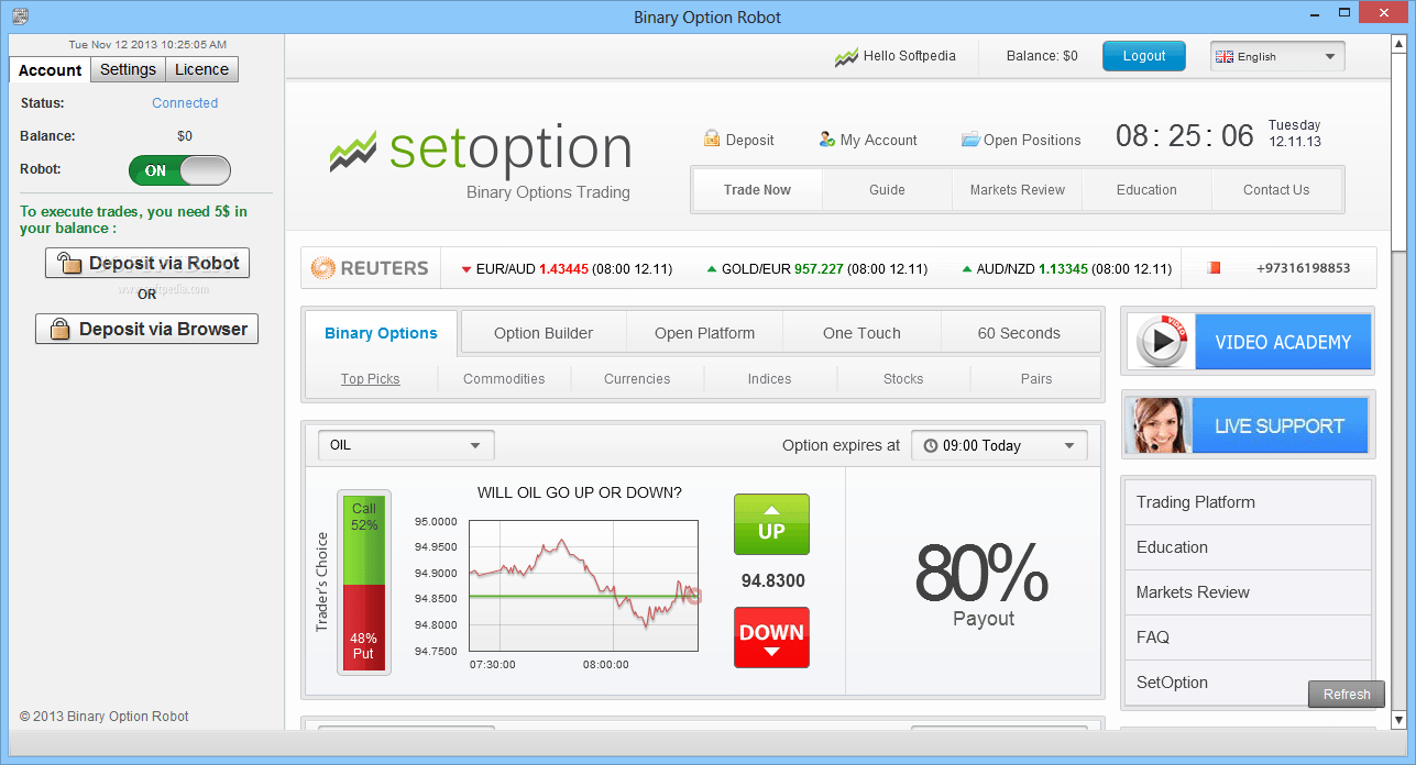 Oz robot binary options